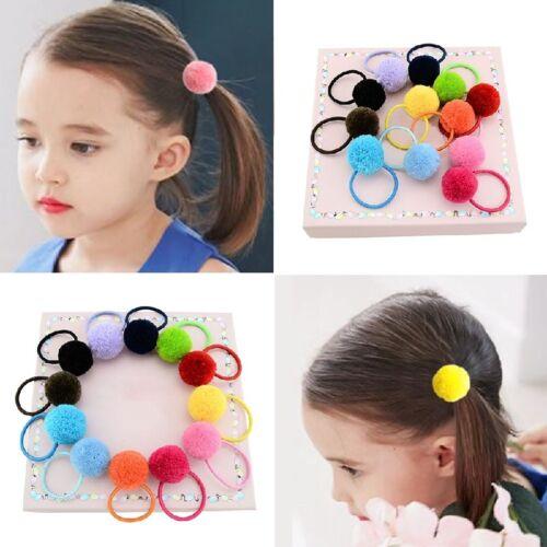 5x Elastic Girls Pompom Ball Hairband Rope Ring Hair Band Ponytail Holder