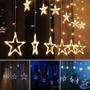 Lichterkette-LED-Star-Stern-Fenster-Haengeleuchte-Weihnachten-Party-Hochzeit-Deko