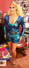 SOLID PEACOCK SEQUIN BODYSUIT/DANCE COSTUME/MERMAID/DRAG QUEEN/ Size: 10-16