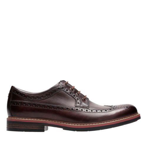 Neu Clarks Bostonian Melshire Flügel Cognac Leder Schnürer Wingtip Komfort Schuh