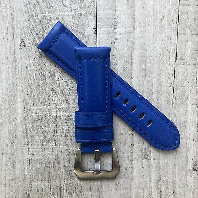 Pour Panerai Pam Luminor Marina 22//20mm 24//22mm Cuir Bleu Bracelet de Montre
