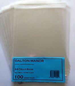 4000 2000 A4-40mic CELLO BAGS HIGH QUALITY DALTON MANOR BRAND WHOLESALE
