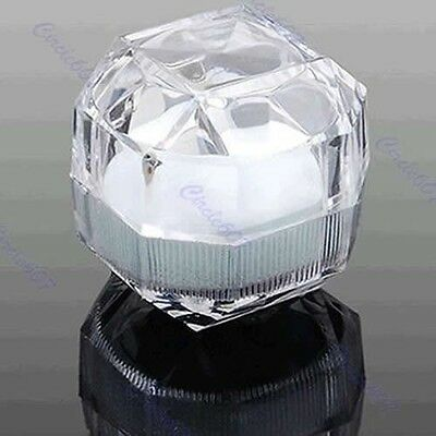 2 x Acrylic Ring Display Box Storage Organizer Gift Package Case Transparent HOT