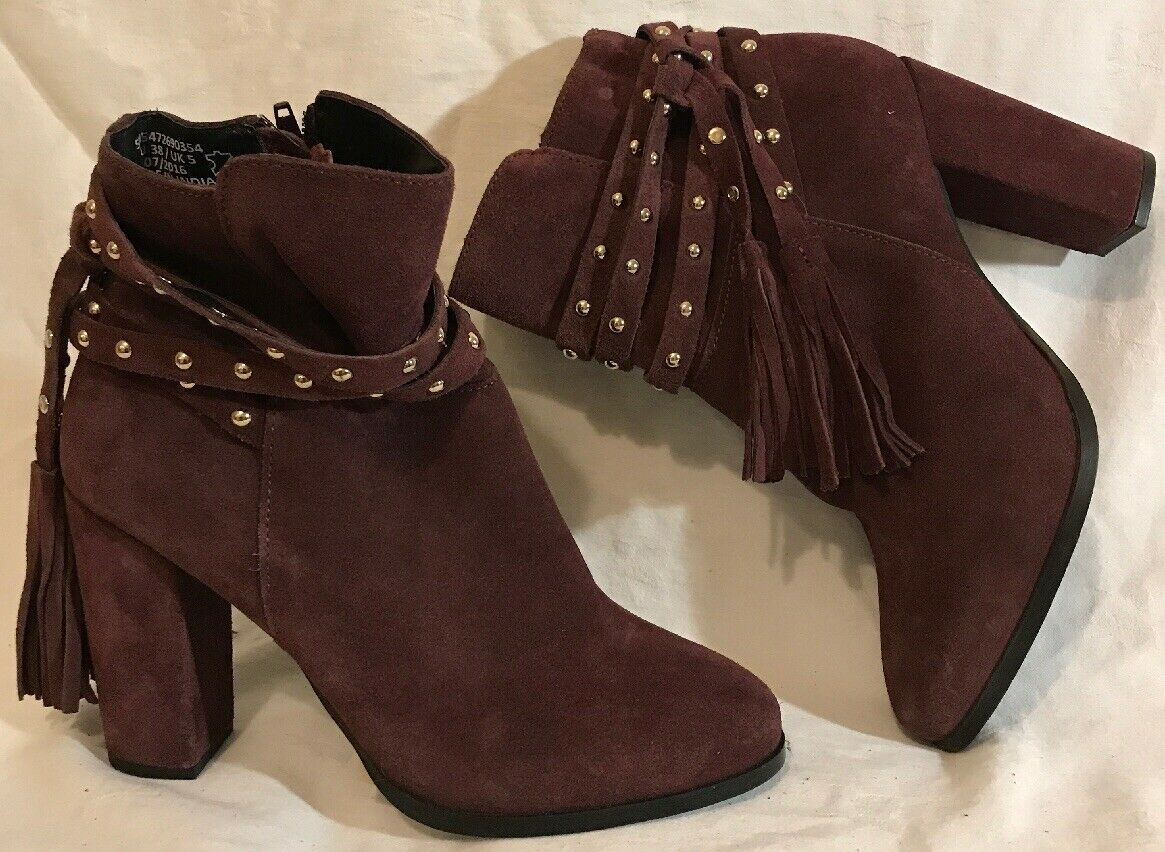 Brand New Faith Dark Maroon Ankle Suede Beautiful Boots Size 5 (12QQ)