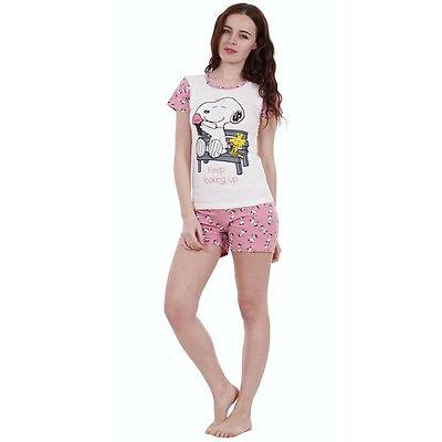 Ladies 2 PIECE Summer Snoopy Pyjamas Girls Short Sleeve Mickie Minnie Shorts PJ