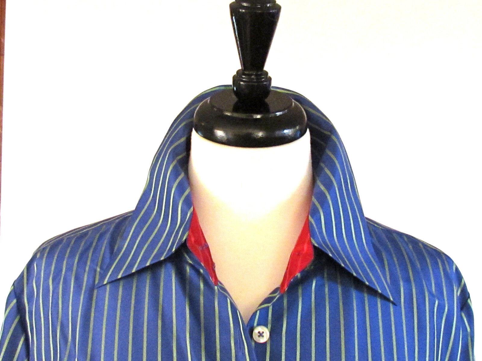 Woherren Blouses Shirts Tops Designer Blouses H Hilfiger Striped 100% Silk  14.R