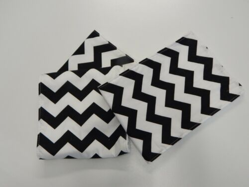 Black Chevron Hand Made Burp Cloths x 3 Toweling Backed GREAT GIFT IDEA!!