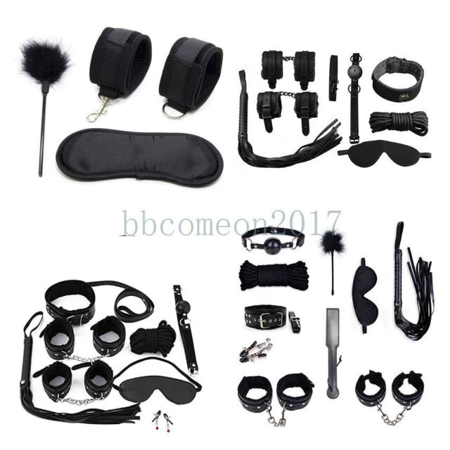 Handcuff Restraint Kit Mask Collar Whip Hand /& Ankle Cuff Ball Gag Nipple Clamp