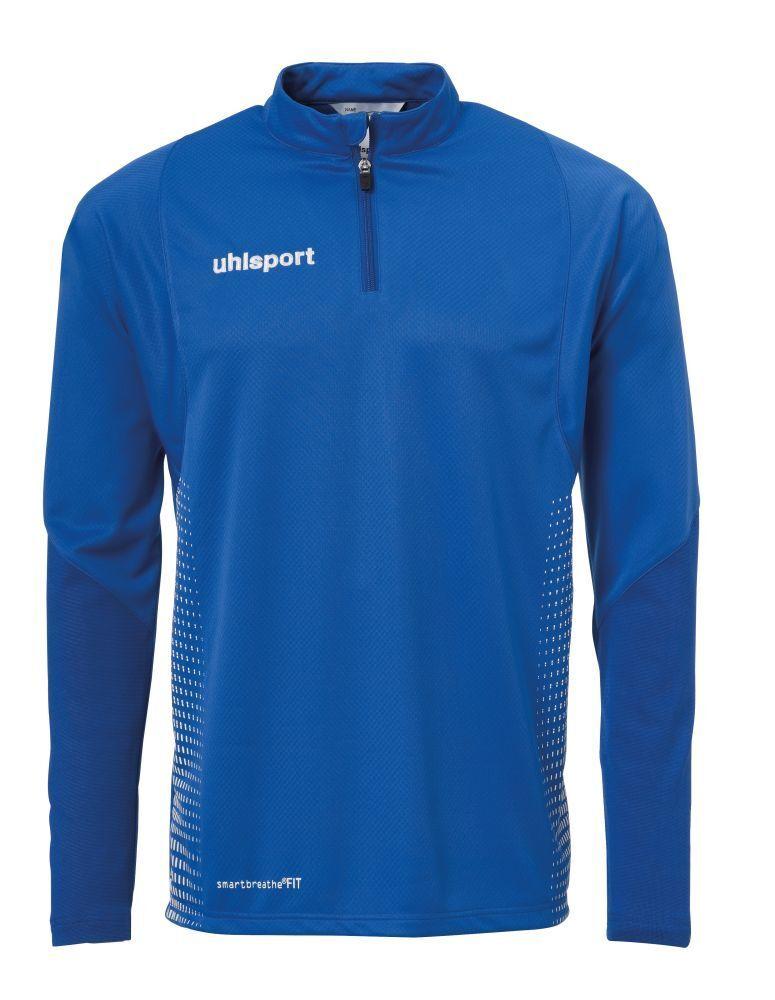 Uhlsport Kids Sports Football Soccer 14 Zip Long Sleeve Top Sweatshirt blu Whi