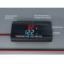 Waterproof Dc 12v Voltmeter Thermometer 028inch Dual Display For Car Motorcycle