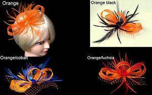 Image is loading Orange-fascinator-plain-fuchsia-black-or-cobalt-on- c7f9c03dcfc