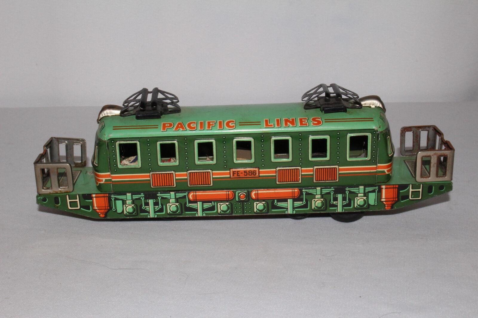 1950's Hecho En Japón, Pacific líneas, Tin Eléctrico Estilo locomotora de tren, bonito