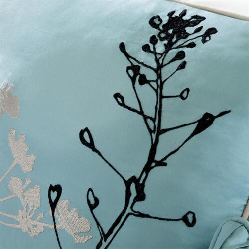 NEW! ~ CHIC COZY LIGHT BLUE GREY BLACK WHITE TREE LEAF BRANCH COMFORTER SET