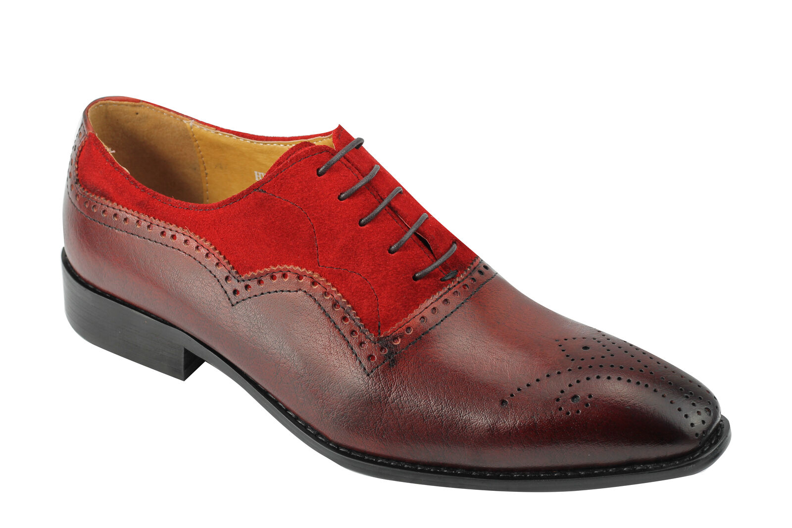 Men's Two Tone Real Suede & Leather Red Oxford Lace up Brogue Smart Dress shoes