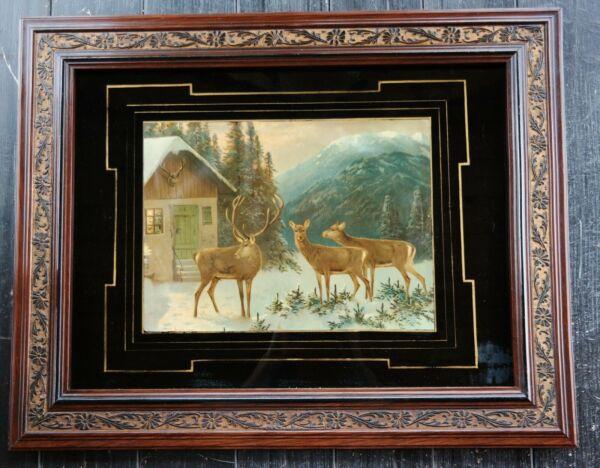 Diskret Großes Antikes Jagd Bild - Öl Kunstdruck Im Prunkrahmen - Um 1900 - 77 X 61 Cm !