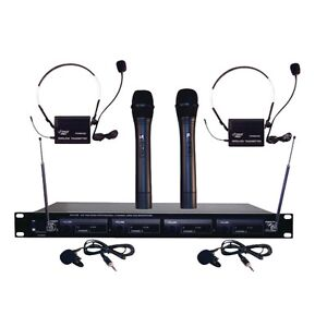 pyle pro pdwm4300 4 microphone vhf wireless rack mount microphone system 68888879262 ebay. Black Bedroom Furniture Sets. Home Design Ideas