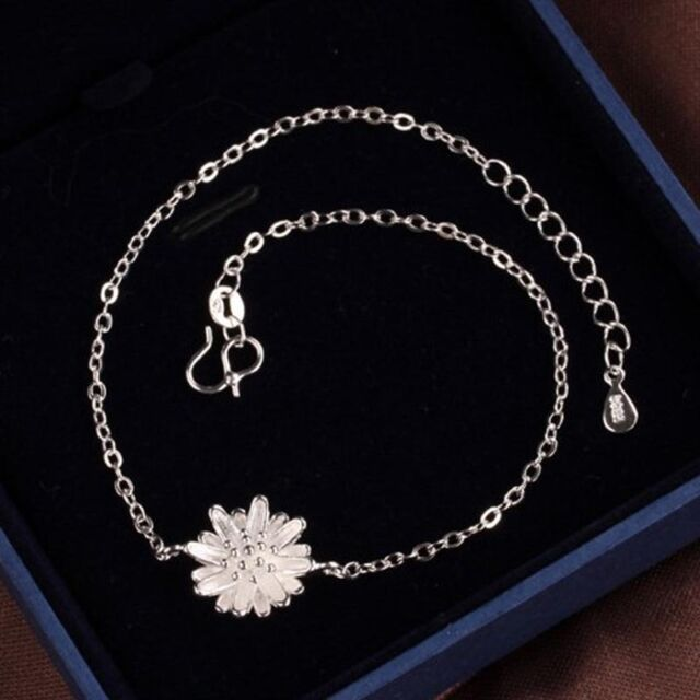 b9ccc29f16c Charm Daisy Flower 925 Sterling Silver Ankle Anklet Chain Bracelet Foot  Jewelry