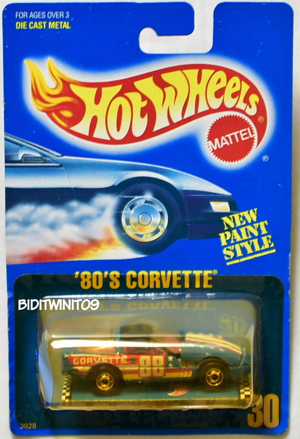 HOT WHEELS 1989 blueE CARD '80'S CORVETTE blueE- TAN BAG W+