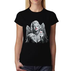 Marilyn-Monroe-Hearts-Butterflies-Angel-Women-T-shirt-XS-3XL