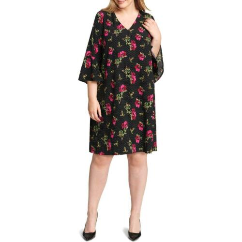 Jessica Howard Womens Black Polka Dot Bell Sleeve Shirtdress Plus 22W BHFO 2440