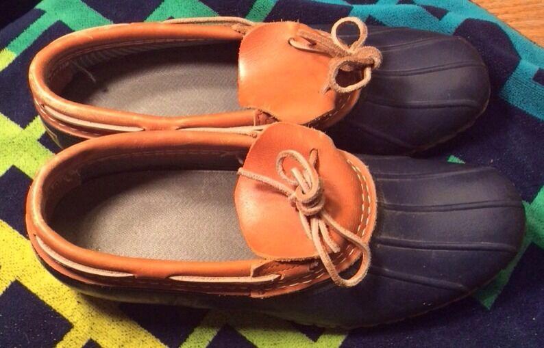 L.L. Bean Womens Bean Boots Duck Blue Rubber Rain size 10N Made in the USA