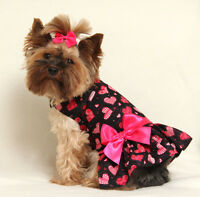 Xs Black And Pink Hearts Dog Dress Clothes Pet Apparel Pc Dog®