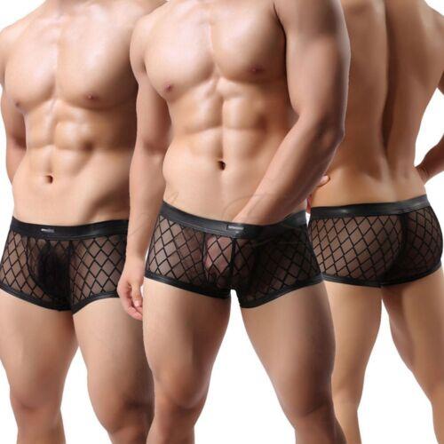 Sissy Men/'s Lingerie Mesh Floral See-through Boxer Brief Shorts Bikini Underwear
