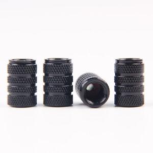 4 X ALUMINUM PISTON TYRE TIRE//RIM VALVE//WHEEL AIR PORT DUST COVER STEM CAP BLACK