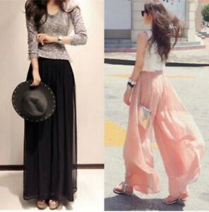 Pantalones De Verano Para Mujeres De Gasa Hadas Culottes Pantalones Sueltos M 4xl Playa Pantalones Chic Ebay