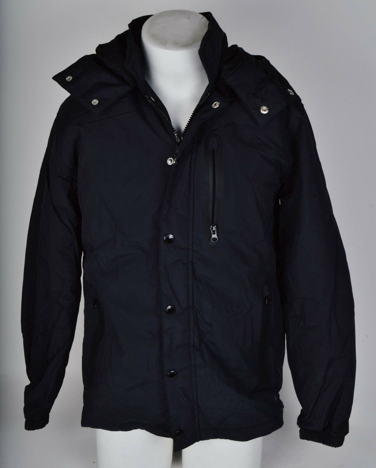 2016 NWOT MENS DC LIGHT WINTER JACKET  80 M schwarz full zip removable hood