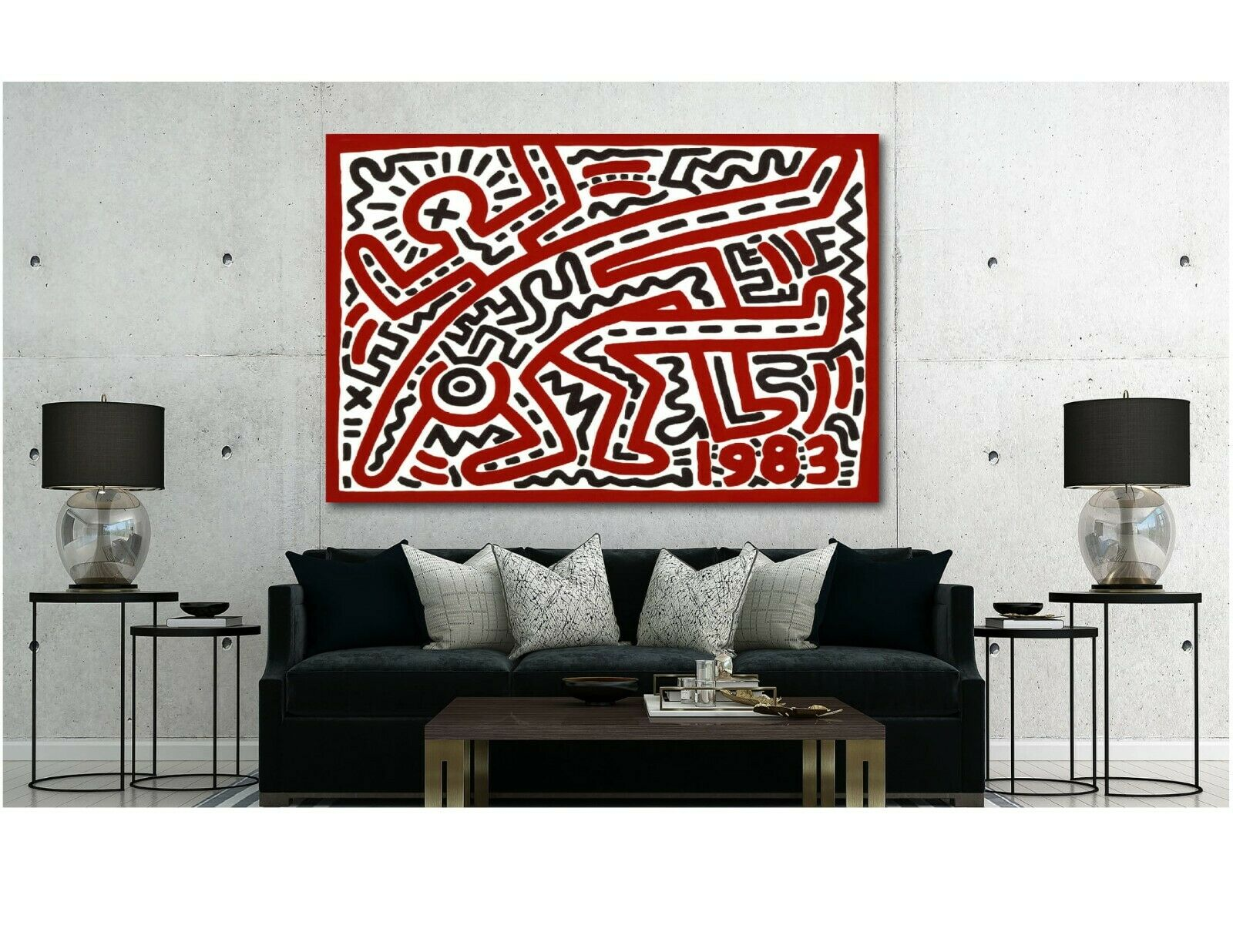 Keith Haring - 1983 - Pop Art - Canvas Wall Art Print - Various Größes
