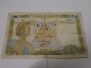 Frankreich, Geldschein 500 Franken Frieden 6.4.1944, Französische Bank Note