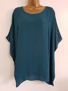 NEW-Evans-Plus-Size-14-28-Teal-Green-Embellished-Batwing-Sleeve-Tunic-Top-Blouse