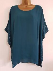Evans blouse top shirt plus size 14 16 18 20 22 24 28 light blue embellished