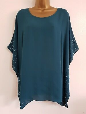 NEW Evans Plus Size 14-28 Teal Green Embellished Batwing Sleeve Tunic Top Blouse