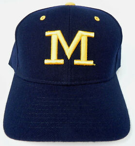 MICHIGAN-WOLVERINES-NAVY-NCAA-VINTAGE-FITTED-SIZED-ZEPHYR-DH-CAP-HAT-NWT