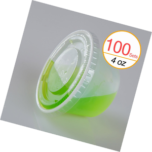 TashiBox 4 oz Plastic Cups / Disposable Portion Cups / Souffle Cups with Lids, 1