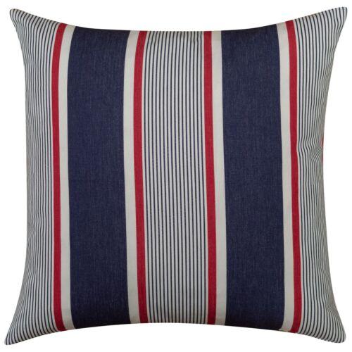 "23/"" Square Red Navy Blue White. XL Nautical Striped Cotton Canvas Cushion"