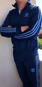 Klassischer Adidas Herren Tracking Anzug Vintage Modell Hellblau Trainingsanzug