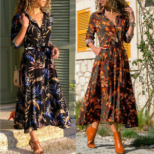 Women-039-s-Summer-Long-Sleeve-Long-Maxi-Evening-Party-Cocktail-Beach-Dress-Sundress