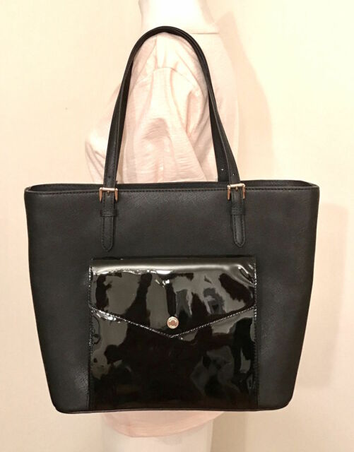 ad23398bd1c5 Michael Kors Jet Set Large Pocket Tote Bag Handbag Saffiano Leather Black
