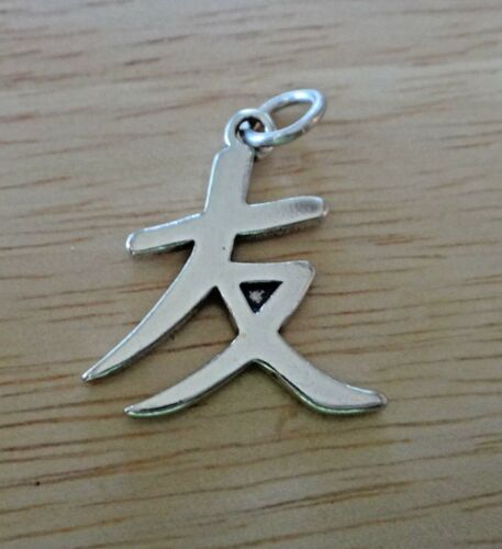 Sterling Silver 23x18mm Chinese Sign Symbol Friendship Charm