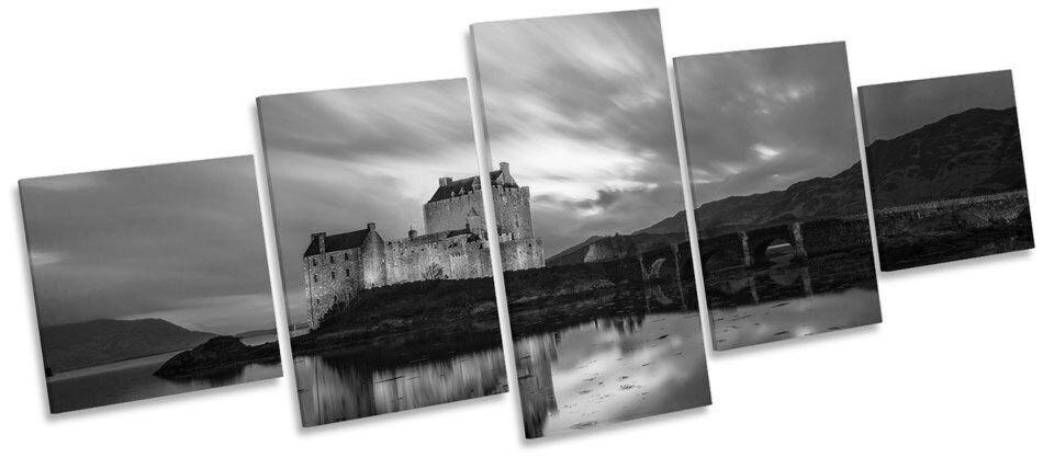 Eilean Donan Castle Scotland B&W MULTI CANVAS WALL ART Picture Box Frame
