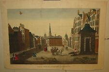 Original Antique EDINBURGH SCOTLAND Herb Market BASSET Vue d'optique engraving