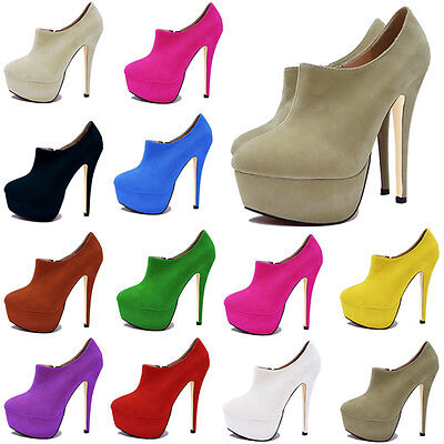 FASHION PLATFORM HIGH HEELS SHOES LADIES WOMENS CASUAL ANKLE BOOTS SIZE UK2-9