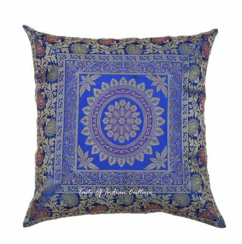 "Indian Mandala Pillow Cushion Cover Silk Brocade Sofa Couch Throw Home Decor 16/"""
