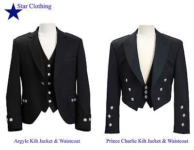 Uk Lager Hochland Schottisch Argyle / Prinz Charlie Kilt Jacke &waistcoat
