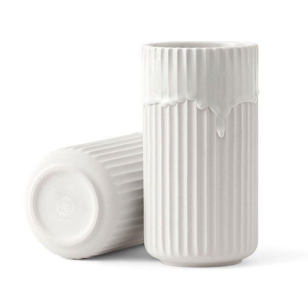 Lyngby Porcelain Vase mit Laufglasur Weiß (20cm)
