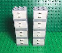 Lego X8 Light Gray Cupboard Container W/ White Drawers,kitchen Cabinet Play