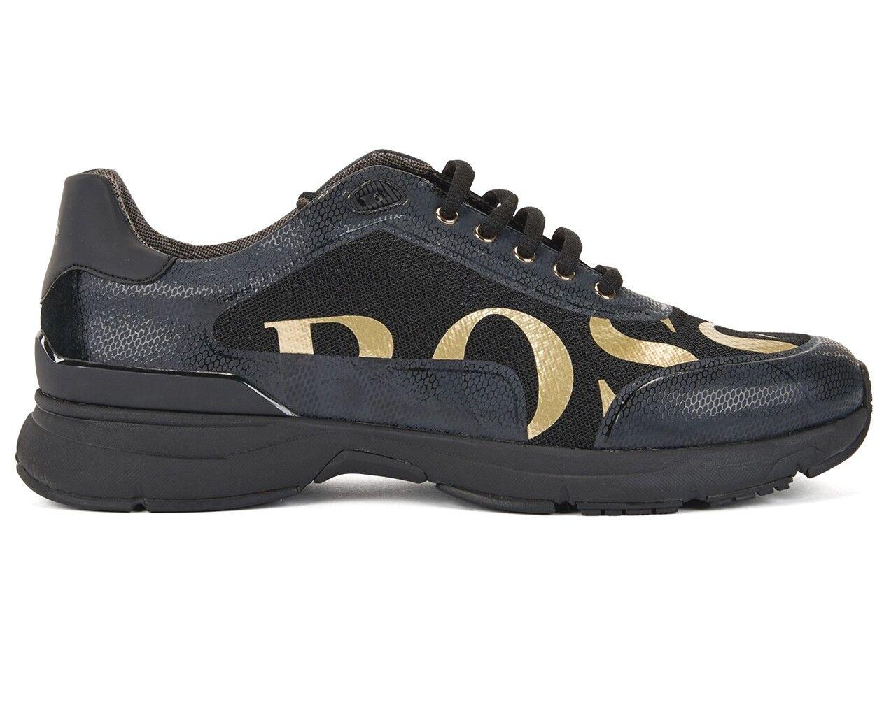 Hugo Boss Velocity Runn Logo2 50397613 002 Herren Turnschuhe Schwarz Gold Gold Schwarz Schuhe 5a561e